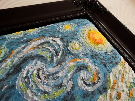 close up of van gogh cake
