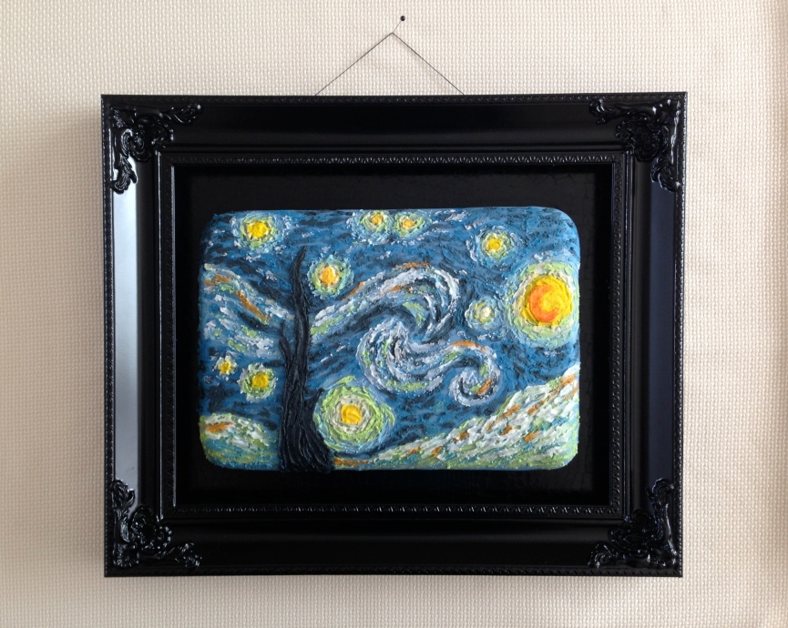 Van Gogh starry night painting cake