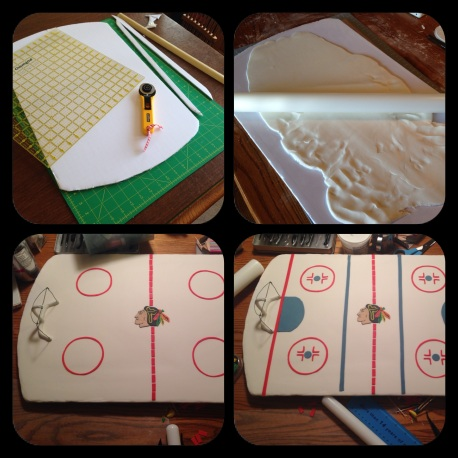 creating the fondant hockey rink