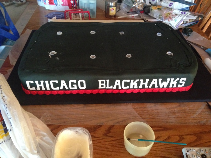 finished blackhawks cake base