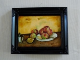 "Cezanne ""Still Life with Apples,"" done with food coloring and apple peels on fondant"
