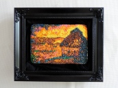 """Monet's """"Winter Haystack,"""" done with Nerds candy"""