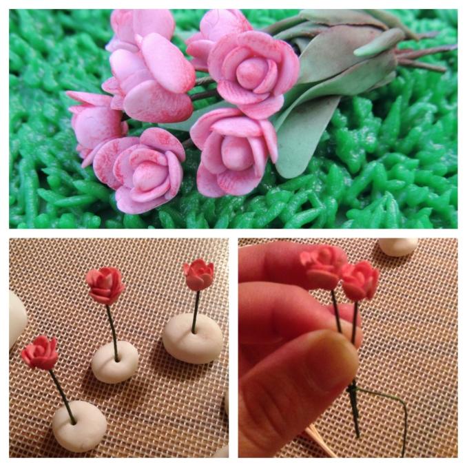 tiny fondant roses