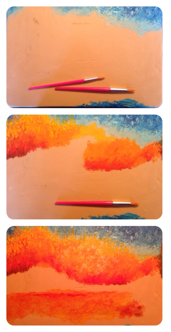 in progress sunset royal icing painting cake 1