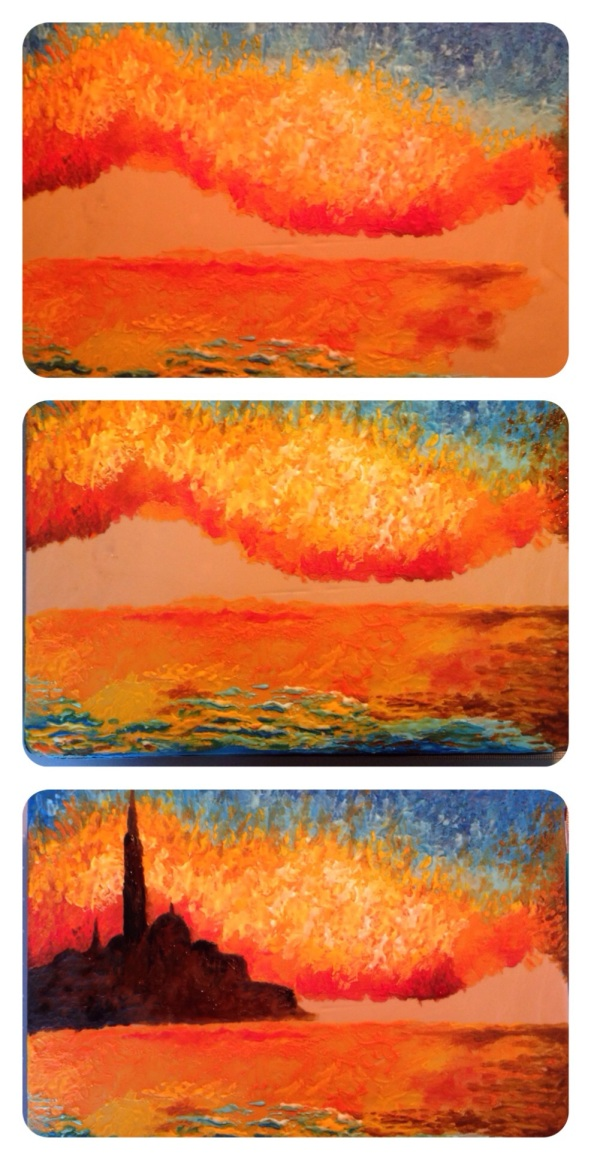 in progress sunset royal icing painting cake 2