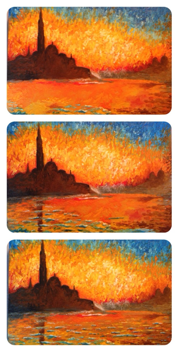 in progress sunset royal icing painting cake 3