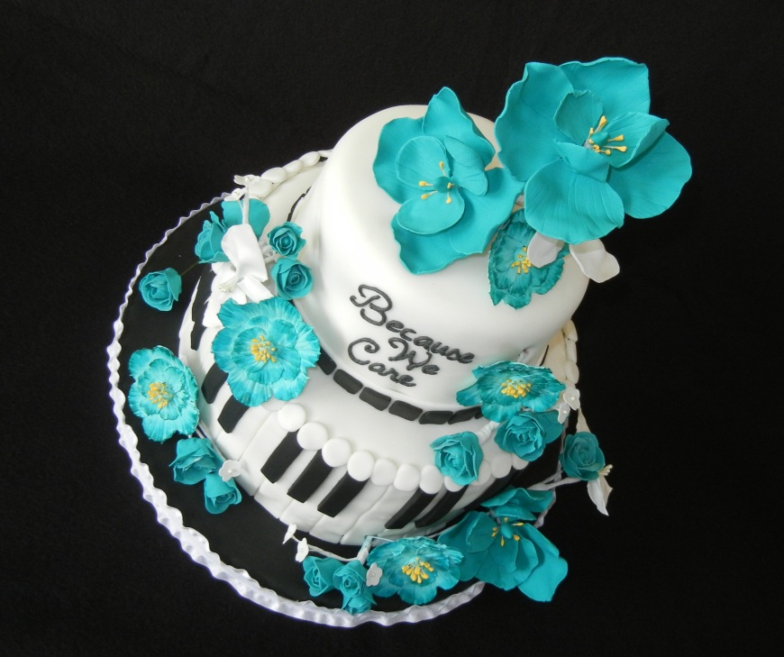 teal gum paste flowers music cake sideways