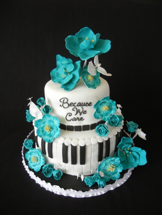teal gum paste flowers music cake