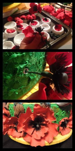 gum paste poppies cake how to make