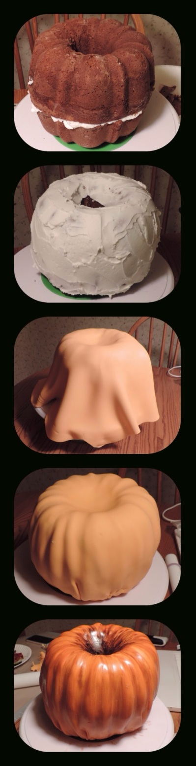 how to cover pumpkin cake fondant
