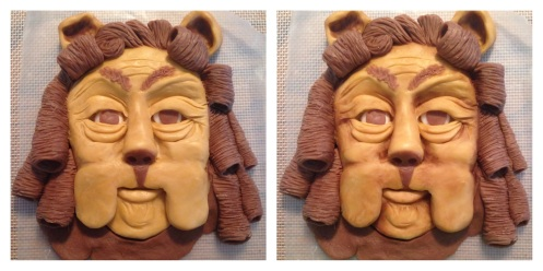 lion with and without luster dust