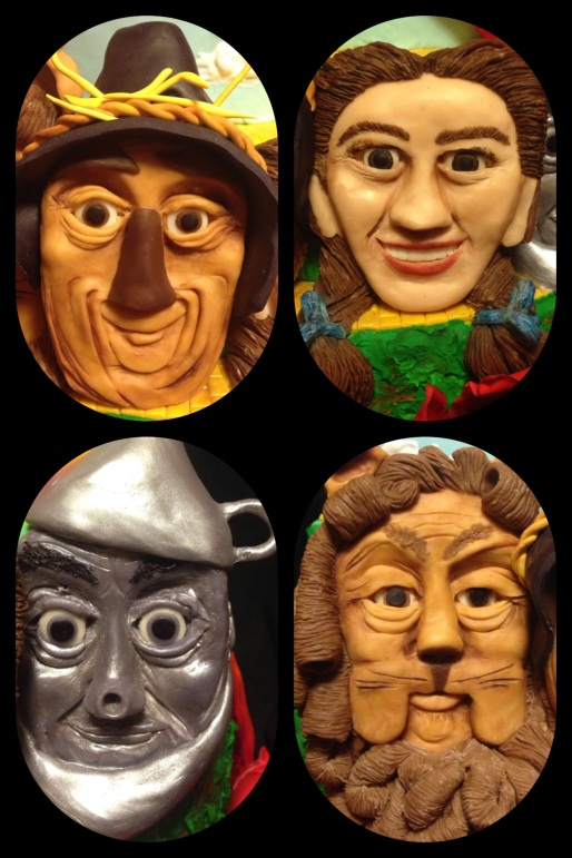 wizard of oz cake character faces made of modeling chocolate