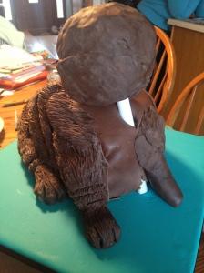 dog cake in progress add head