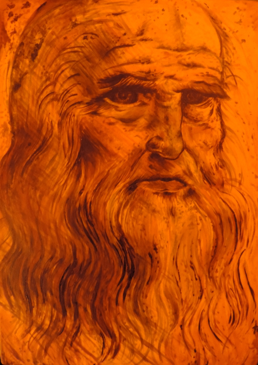 leonardo da vinci cake painted with food gel coloring self portrait