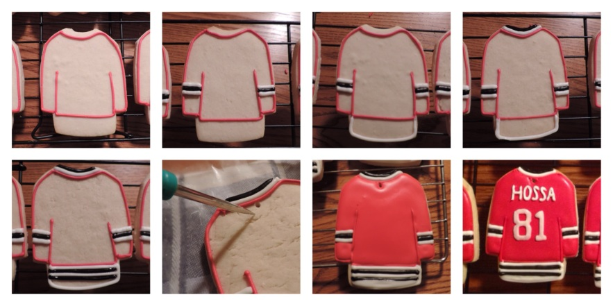 royal icing hockey jersey cookie blackhawks