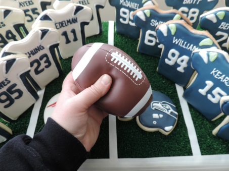 deflated football for super bowl cookie display