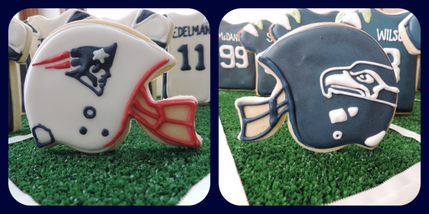 patriots seahawks cookie helmets for super bowl