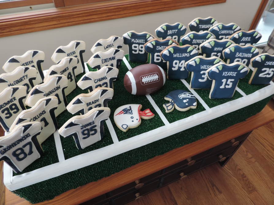super bowl patriots seahawks football jersey cookies 1