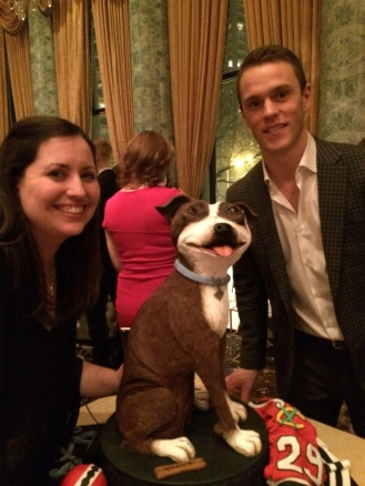 dog cake with toews
