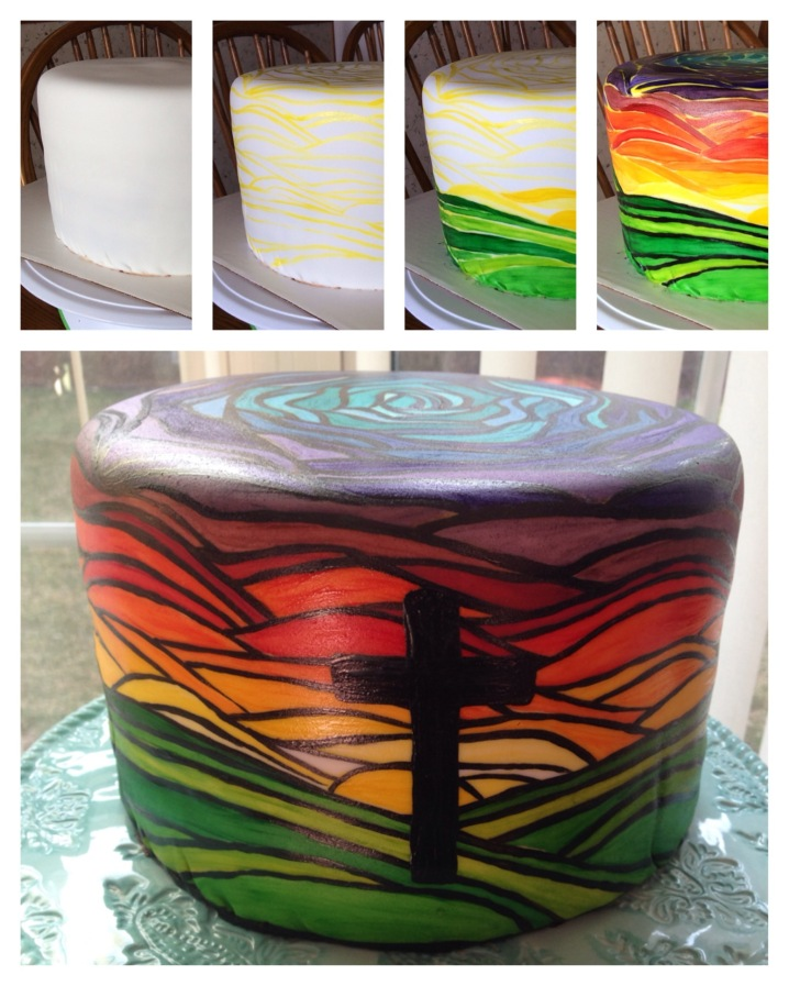 how to paint a stained glass effect on a cake