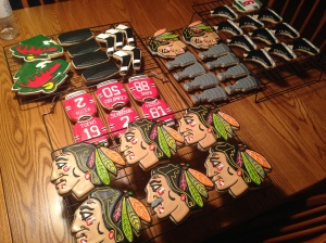 blackhawks and wild skates hockey stanley cup cookies