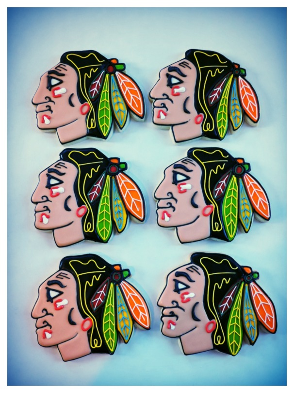 Chicago Blackhawks logo cookies