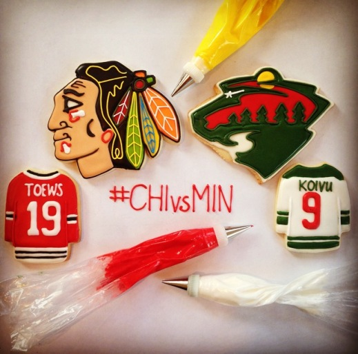 CHIvsMIN chicago blackhawks minnesota wild logo cookies