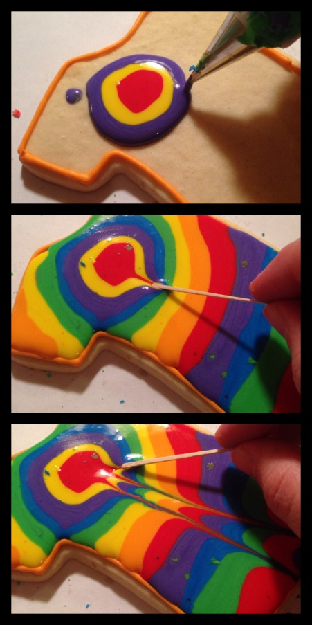 how to make tie dye shirt cookies with toothpick and royal icing