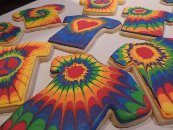 tie dye cookies with royal icing