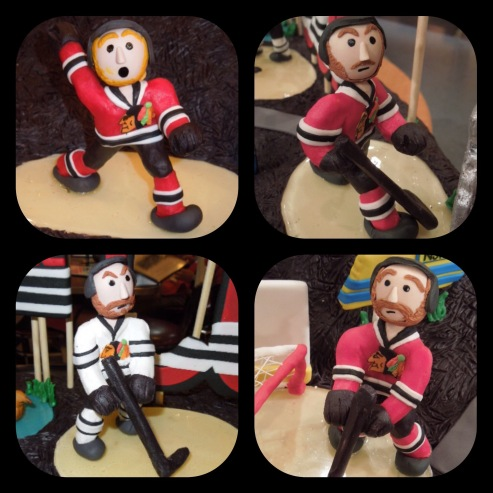 miniature blackhawks hockey players gum paste cake decorating
