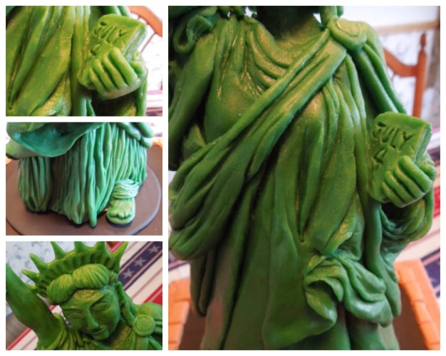 close up of lady liberty statue of liberty modeling chocolate cake