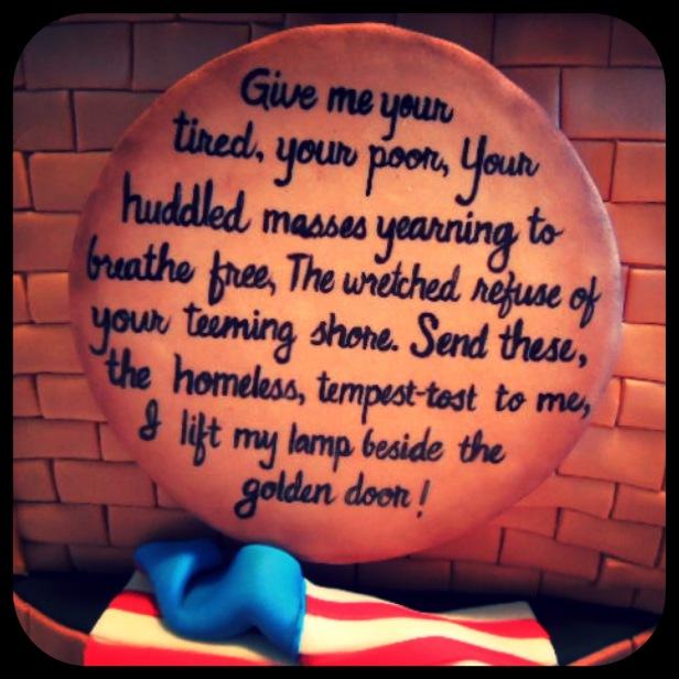 emma lazarus poem base of statue of liberty cake flag cake