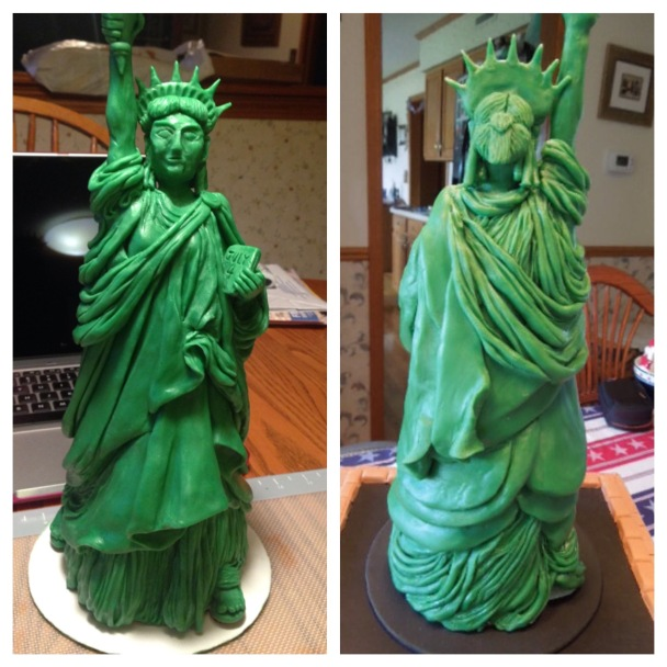 statue of liberty modeling chocolate back and front