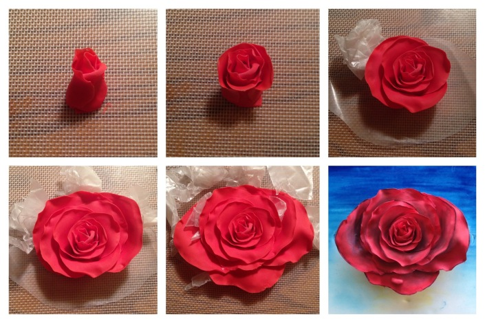 step by step gum paste rose