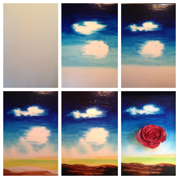step by step meditative rose dali painting on a cake gum paste rose food coloring