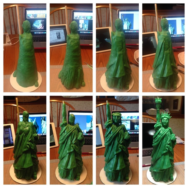 step by step modeling chocolate statue of liberty