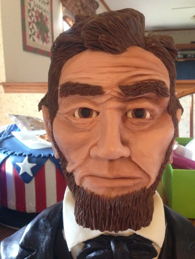 abraham abe lincoln made of modeling chocolate with dust