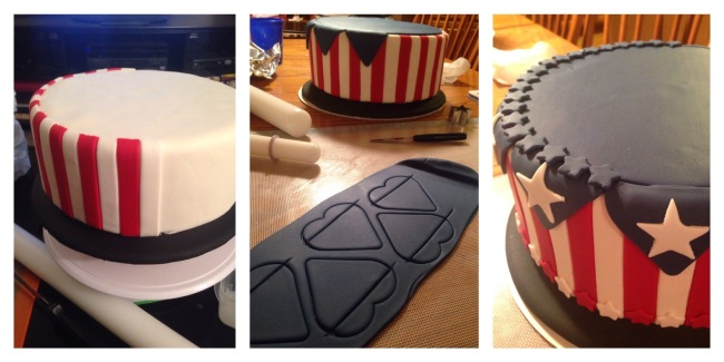 patriotic red white blue flag cake fondant