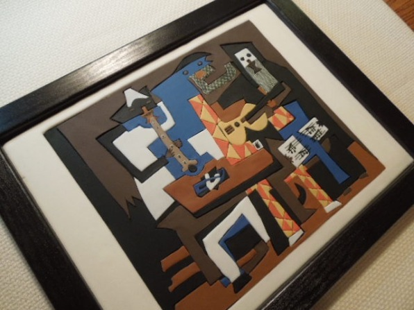 picasso three musicians cake fondant in frame