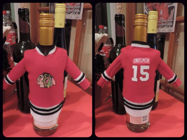 blackhawks homemade wine bottle cover jacket
