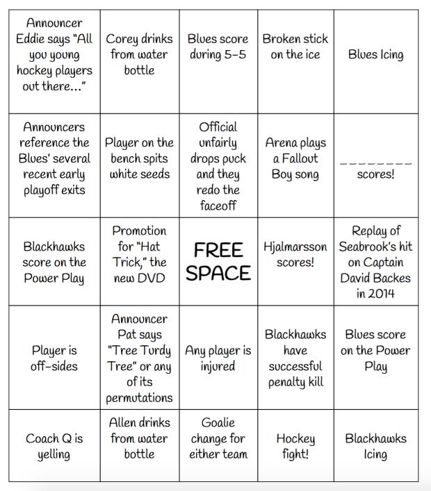 hockey bingo card