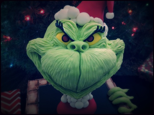 grinch cake modeling chocolate close up