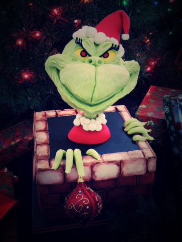 grinch cake modeling chocolate