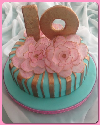 gold teal pink rose wafer paper cake