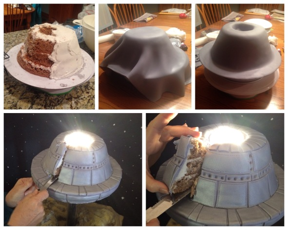 top of UFO cake fondant