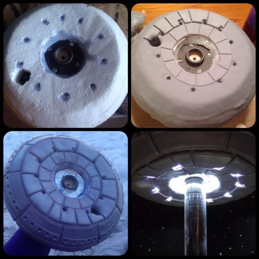 UFO cake how to bottom of UFO with lights