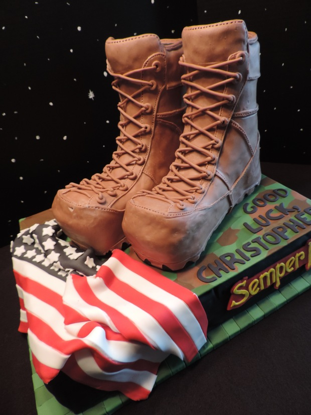 boot camp cake fondant modeling chocolate boots