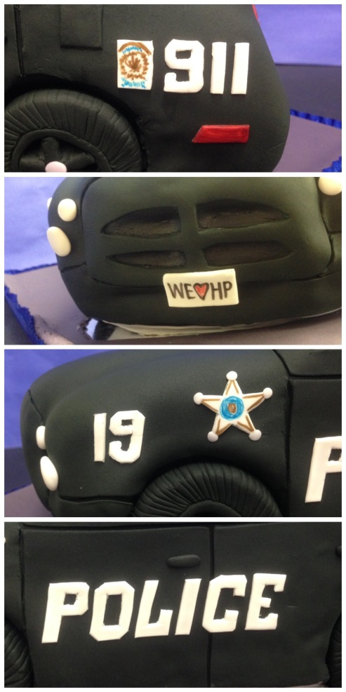 fondant details of police car cake