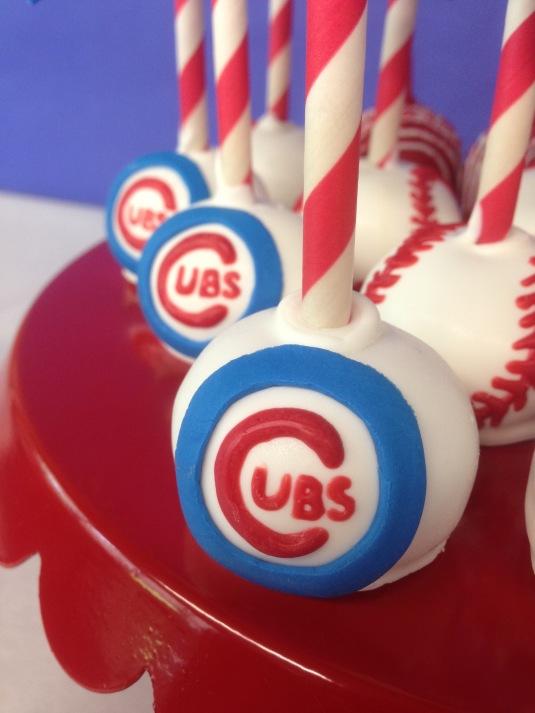 cubs baseball cake pops close up