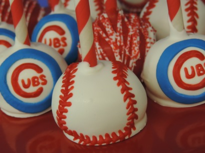cubs baseball cake pops